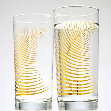Metallic Gold Fern Glasses Tropical Coastal Beach Glassware Drinkware