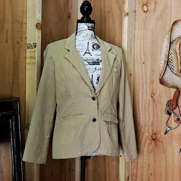 70s Wrangler jacket / tan corduroy blazer / M size 9 / 12 / vintage cord blazer / womens western sports coat / made in USA