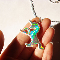 Holographic Unicorn Necklace Hologram Unicorn Necklace Magical Kawaii Holographic Jewelry Rainbow Jewelry Unicorn Pendant