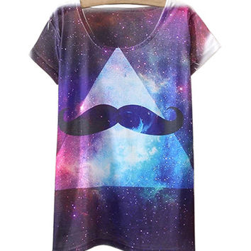 Moustache And Cosmos Print T-Shirt