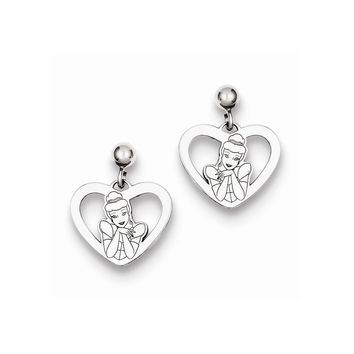 Sterling Silver or Yellow Gold Plated Disney Cinderella Heart Dangle Earrings