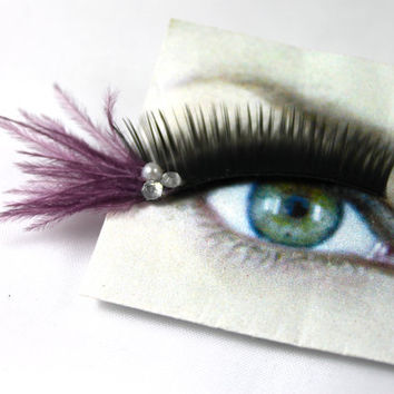 Lavender Pearl and Crystal Feather False Eyelashes