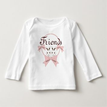 Twin Bunnies with Pink Ribbons Personalized Girls Shirts