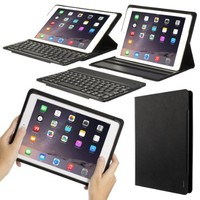 iPad Keyboard Case - OZAKI O!tool KeePad SlideAngle Keyboard Folio for iPad Air 2 & 1. Detachable Wireless Keyboard Stand / Rubberized Texture Cover / Multiple Angles / Auto Sleep & Wake - Black