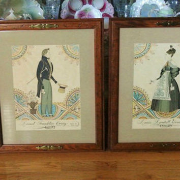 Pair Folk Art Framed Memorial Pictures Lionel Franklin Craig Annie Randall Yoxall Taken 1837 Americana Primitive Rustic Farmhouse Decorator