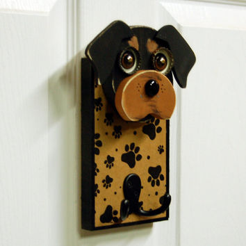 Rottweiler Dog Leash Holder, Reclaimed Wood Rottweiler Wall Hook, Key Holder, Handmade Dog