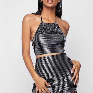 Take Me Out Two Piece Sequin Skirt Set