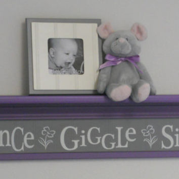 "Purple Gray Baby Room Ideas - Dance Giggle Sing - Sign on 30"" Lavender Shelf - Grey Flower Nursery Wall Decor Art"