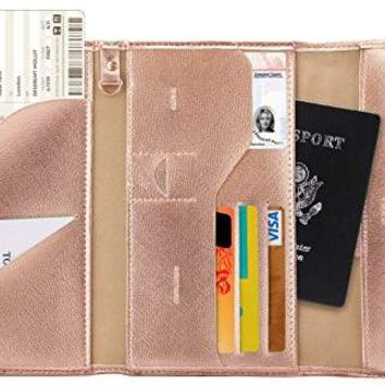 Multi-purpose Rfid Blocking Travel Passport Wallet (Ver.4) Tri-fold Document Organizer Holder