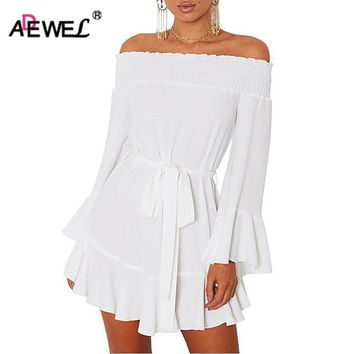 ADEWEL 2018 Spring Long Flare Sleeve A-Line Off Shoulder Skater Dress Women Sexy Mini Pleated Cute Party Dress Vestidos Mujer