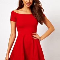 Solid off Shoulder Mini Pleated Dress