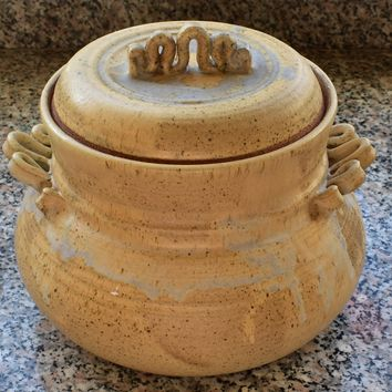 Vintage Handmade Ceramic Bean Pot / Soup Server with Lid