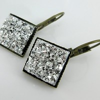 Antiqued Gold-tone Geometric Square Silver Faux Druzy Stone Lever-back Drop Earrings