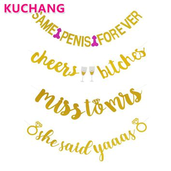 Cheer Bitches She Said Yaaas Miss To Mrs Gold Glitter Banner For Wedding Bridal Shower Bachelorette Party Decoration Supplies