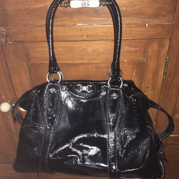 MICHAEL KORS MK Black Patent Leather Extra Large Satchel/Shoulder Bag