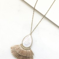 Opal & Blush Tassel Necklace