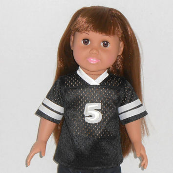 American Girl or Boy Doll Football Jersey Black and White fits 18 inch dolls