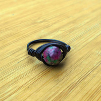 Ring, Ruby Zoisite, Ruby Zoisite ring, Ruby Zoisite jewelry, wire jewelry, wire wrapped ring, bohemian ring, custom ring, healing jewelry