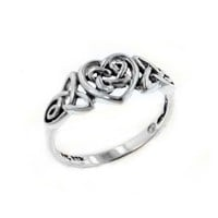 Sterling Silver Celtic Trinity Knot Heart Ring Size 7(Sizes 3,4,5,6,7,8,9,10,11,12,13,14,15,16)
