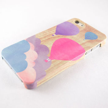 Pastel iPhone case, iPhone 5 case, iPhone 4 case - 3D Wrap around case - Purple pink blue balloon watercolor painting on light wood print