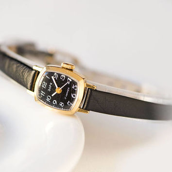 Black dial watch tiny, gold plated women's watch, Dawn watch small, lady's wristwatch rectangular, watch her gift, new luxury leather strap