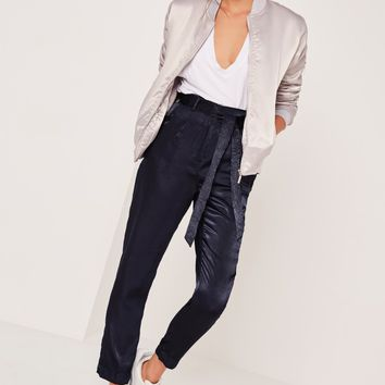 Missguided - Satin Cigarette Trousers Navy
