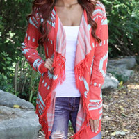 Red Tribal Patterned Tasseled Knit Cardigan
