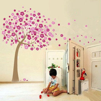 Removable Vinyl Kids Wall Decal Wall Sticker PEEL and STICK - Trailing Cherry Blossom Tree Decal