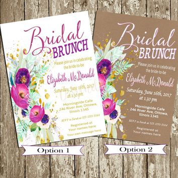 Bridal Brunch Invitation Printable Bohemian Bridal Shower Invitation Set Purple gold Hot pink Bachelorette Party Invite Floral Hen's Party