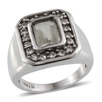 Green Amethyst (Oct 3.35 Ct), White Austrian Crystal Stainless Steel Men's Ring