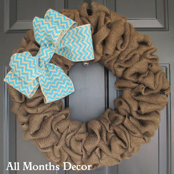 Brown Burlap Wreath with Chevron Burlap Bow, Door Porch, Rustic Country, Spring Easter, Year Round, Fall