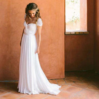 White Chiffon Short Sleeves Embroidered Lace Floor-Length Wedding Dress