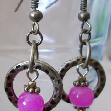 Bronze Detailed Hoop & Colorful Bead Dangle Earrings, Handmade, Original Design, Unique Style, Small Earrings, Bold, Simple, Fashion Jewelry