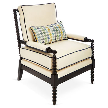 Taylor Burke Home, Gregg Lounge Chair, Ivory/Blue, Accent & Occasional Chairs