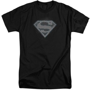 Superman - Checkerboard Short Sleeve Adult Tall