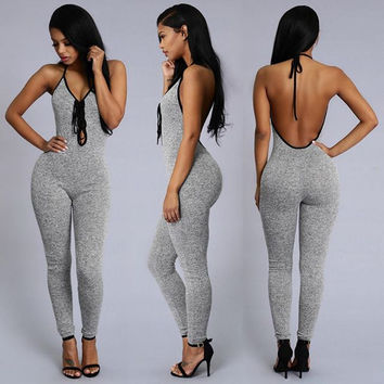Grey Cut-Out Backless Jumpsuit