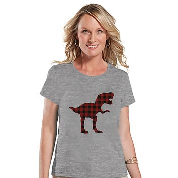 Women's Dinosaur Shirt - Buffalo Plaid Dino Grey T-shirt - Ladies Dinosaur Shirt - Plaid Dinosaur Shirt - Dinosaur Gift Idea for Her