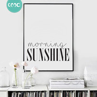 Morning Sunshine Quote Canvas Art Print Poster, Simple Style Wall Pictures for Home Decoration, Wall Decor YE136