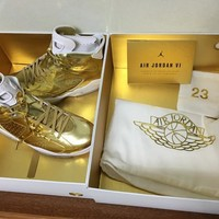 Nike Mens Air Jordan 6 Retro Pinnacle Metallic Gold/White 854271-730  DS