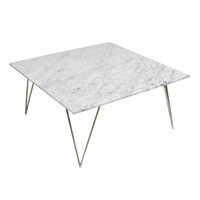 Neal Silver Leaf and White Marble Coffee Table :Free Shipping