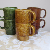 Vintage Mugs Coffee Cups Set of Six Ceramic Stackable 1970's Avocado Green Harvest Gold Brown Japan Retro Modern Boho Bohemian COOL