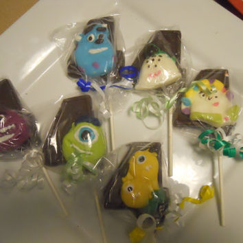 12 Disney Monsters University Inc Sulley Mike Art Terry Perry 4th Fourth Birthday Gourmet Chocolate Lollipops Birthday Party Favor Kids
