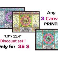Any three 3 CANVAS prints A4 size, 3 Piece wall decor, Living Room Decor, Nursery Room Wall decor, Zentangle paisley Art, Boho Yoga decor
