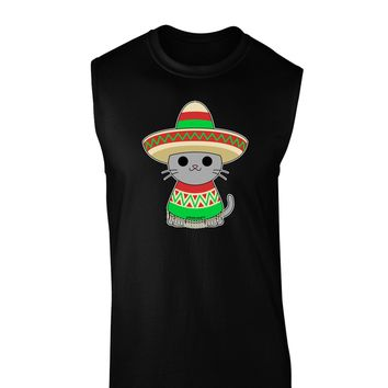 Cat with Sombrero and Poncho Dark Muscle Shirt  by TooLoud