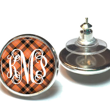 Monogram Earrings Orange and Black Plaid, Stud Earrings, Monogram Jewelry  (621)