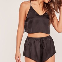 Missguided - Black back detail cami pyjama set