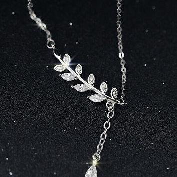 womens casual simple style leaf necklace gift 49