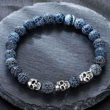 Bracelet volcanic stone natural beads Skeleton skull