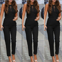 V Sheer Cut Out Sleeveless Jumpsuit