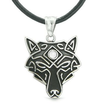 Celtic Wolf All Seeing Third Wisdom Eye Magic Amulet White Simulated Cats Eye Pendant Leather Necklace